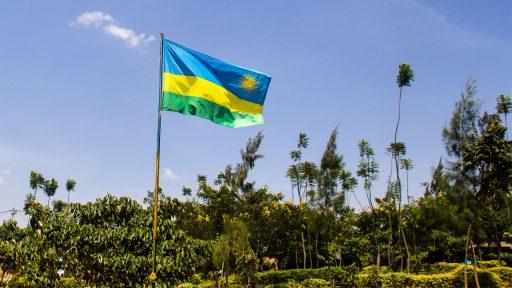 Rwandan flag in school yard
