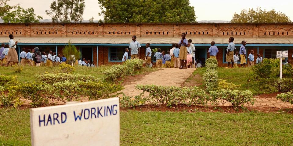 Students in the school yard at Shango school