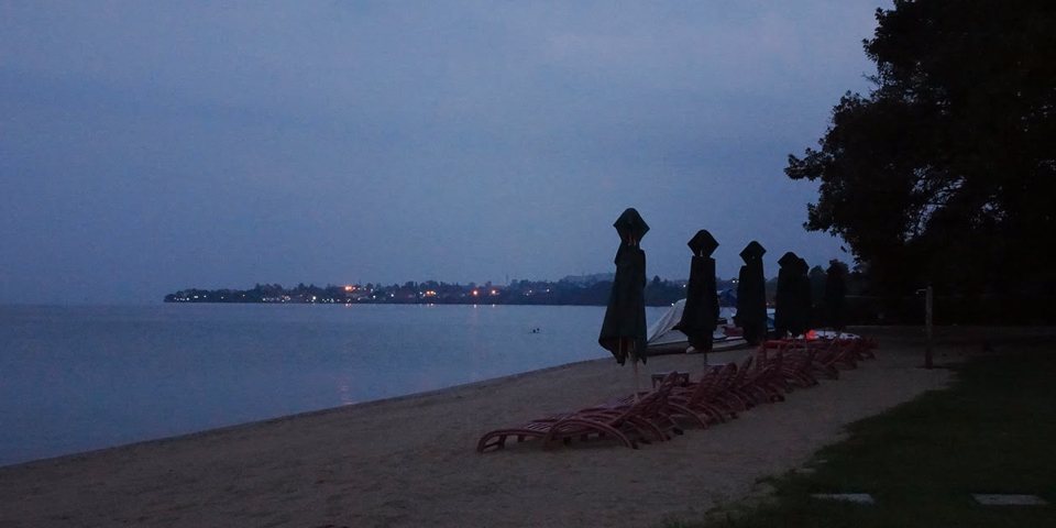 The twinkling lights of Goma, DRC across the bay